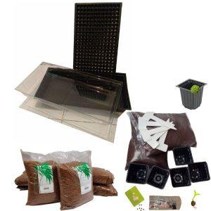 Kit De Germinación completo, Bandeja Domo Sustrato Semillas y Materas Bandejas para germinación Vivir para sembrar
